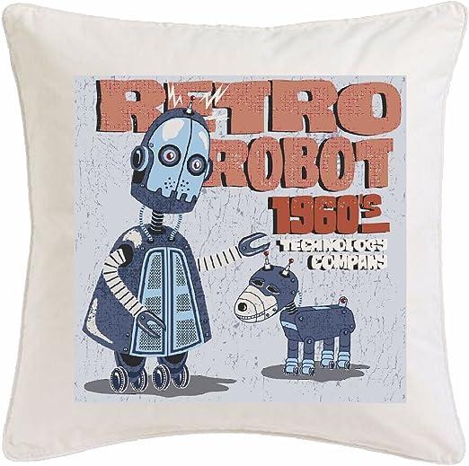 Reifen-Markt Funda de Almohada 40x40cm Robot Retro tecnología robótica Empresa con EL Perro Retro Fantasy Robot Robot Technology Company MECANICA 1960 Microfibra en Color Blanco: Amazon.es: Hogar
