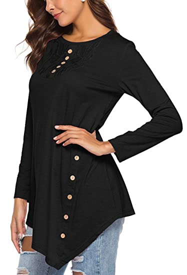 f85bc023fe0f Jescakoo Women T Shirt Loose Casual Solid Blouse Shirts Tops with Button  Black S