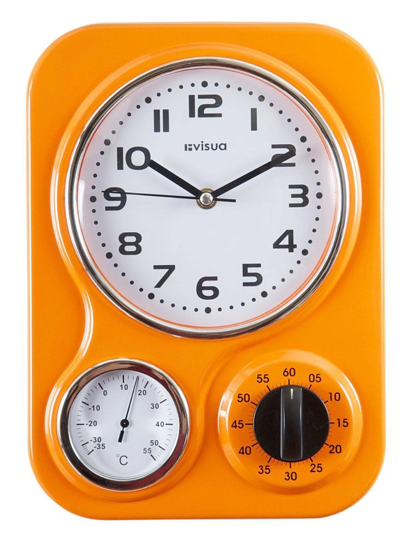 Visua Nia Retro Metal Kitchen Clock With Mechanical Timer And Temperature  Gauge, Orange: Amazon.co.uk: Kitchen U0026 Home