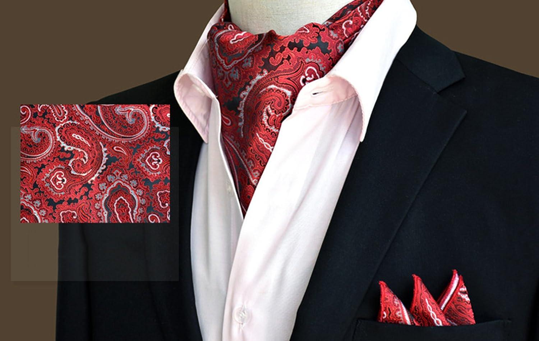 L04BABY Mens Paisley Red Jacquard Woven Scarf Ascot Set:Ascot+Pocket Square