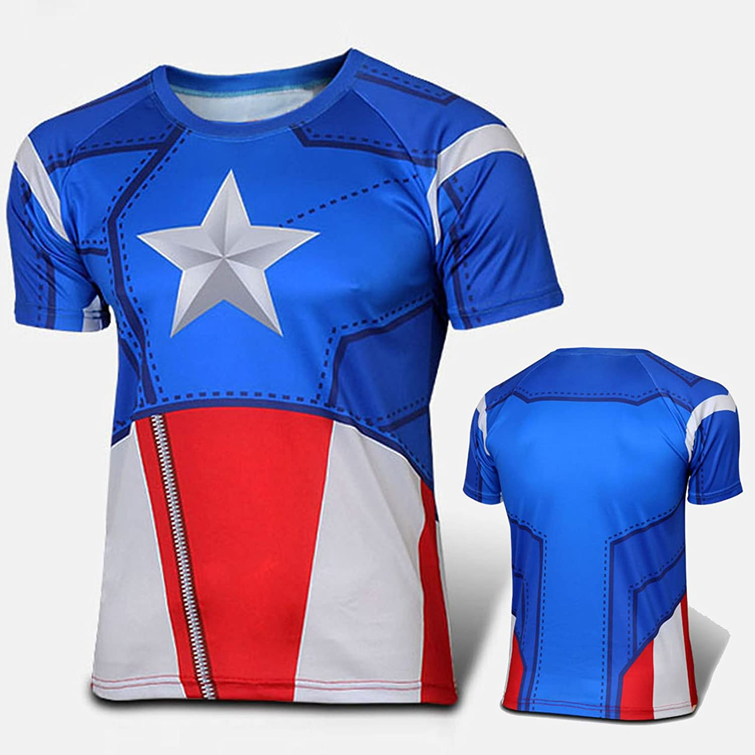 FidgetFidget T-shirt Mens Compression T-shirt Cosplay Costume Casual Sports  Base Layer Blouse   Tops  30 Captain America B XL (Summer Lightweight  Athlete ... 6d6c6989c