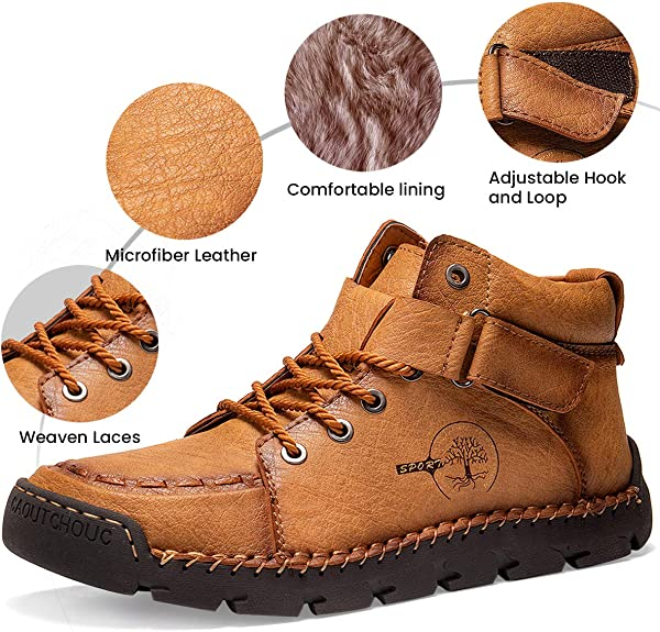 gracosy Mens Winter Warm Boots Upgrade Outdoor Leather Ankle Boots Fur Lined WAS £39.99 NOW £21.99 w/code gracosy1026c @ Amazon