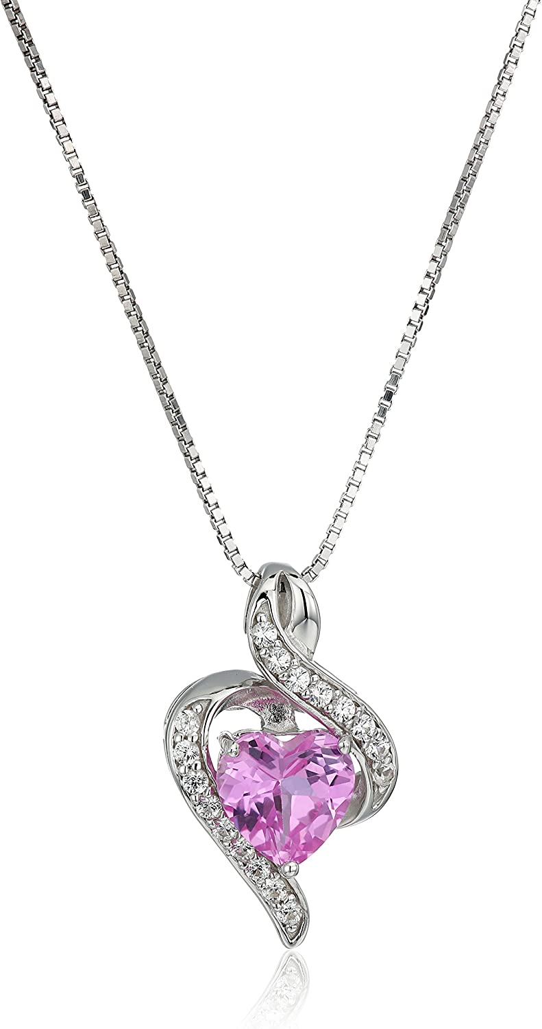 """Amazon Collection Sterling Silver Gemstone Wrapped Heart Pendant Necklace, 18"""""""