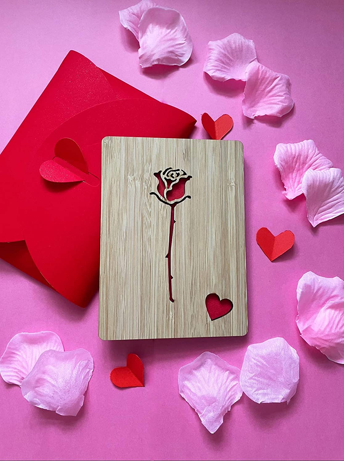 Wife Boyfriend Gift Girlfriend Birthday Husband Wedding Romantic Red Rose Love Card Wooden Romantic Card for Valentines Day,Anniversary Him for Her
