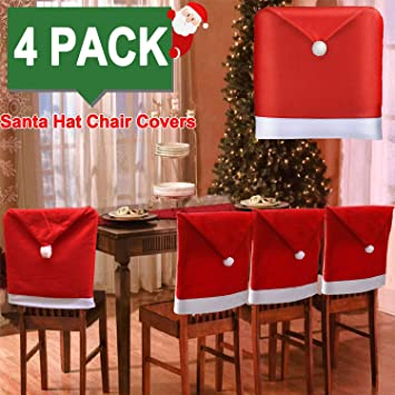 Christmas Chair Back Covers.2019 Upgraded Design 4pack Christmas Chair Covers Santa Hat Xams Chair Back Covers Santa Chair Covers Caps Slipcovers Set For Christmas Festive Home