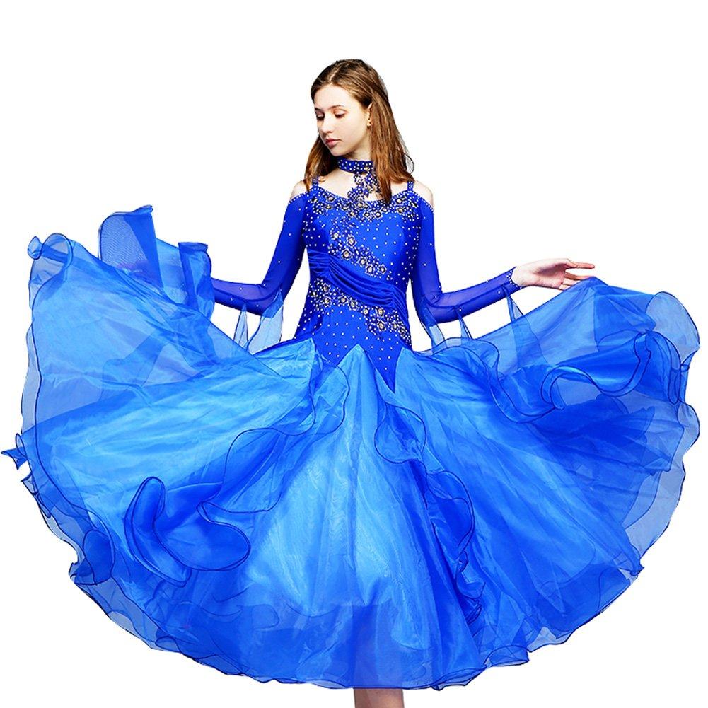 殿堂 [RIKOUZY]肩出し ブルー ワンピース 社交ダンスドレス ロング丈 Large 広く裾 ブルー モダンダンス衣装 Large|ブルー ワルツ専用ドレス レッスン着 フラメンコ ルンバ サンバ 練習競技着デモ用 スタンダード発表会用演出服 B07FR32SN8 Large|ブルー ブルー Large, わがと照明:e7542a20 --- preocuparse.me