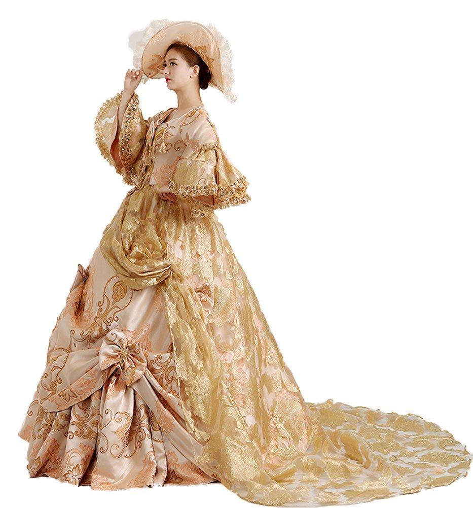 Zukzi Women's Layered Lolita Bow French Train Wedding Palace Masquerade Dresses US Customized by Zukzi