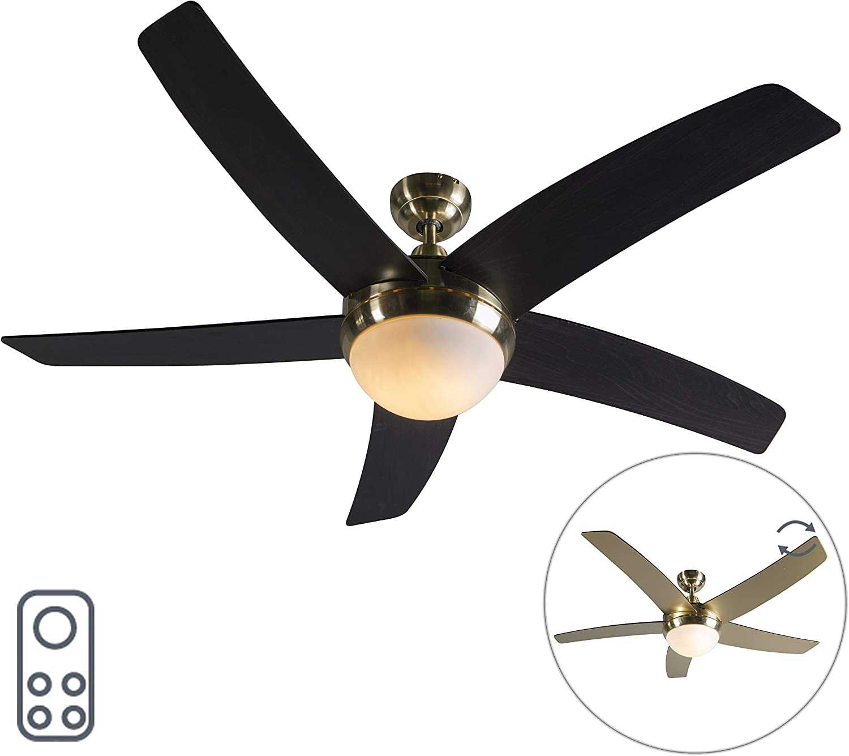 QAZQA Moderno Ventilador de techo con luz y mando a distancia dorado con control remoto - Cool Vidrio/Madera/Acero Redonda Adecuado para LED Max. 2 x 40 Watt