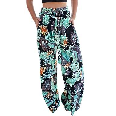 f6a65f382d7e72 Rosatro Women trouser regular fit,Women Summer Pockets Leaves Printing  Drawstring Wide Leg Pants Leggings Capri Palazzo Long Pant for Ladies  Casual Work Out ...