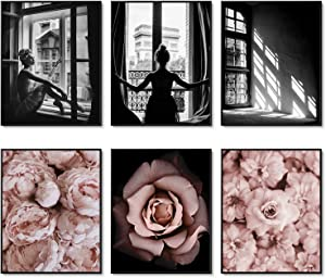 Fashion Wall Art Prints Set of 6 Black and White Art Pink Roses Flower Wall Art Floral Trendy Posters Prints Canvas Art Pictures Bedroom Decor for Girls Room Decor (8