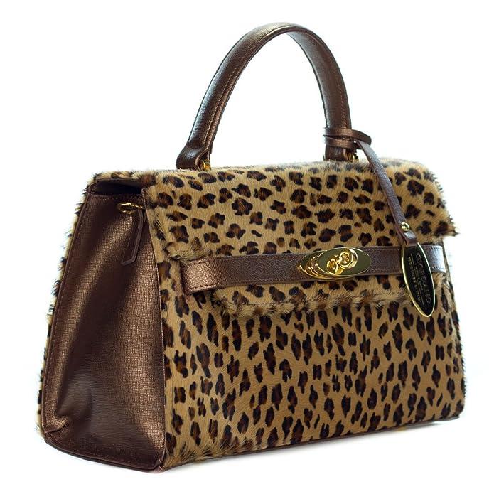 16631e7a1168 Giordano Italian Made Leopard Print Cowhide and Bronze Leather Small  Structured Handbag: Handbags: Amazon.com