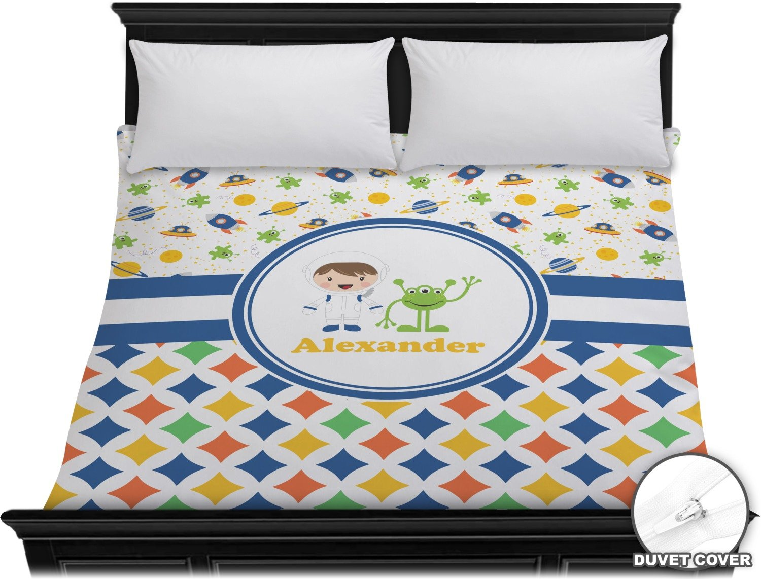 Boy's Space & Geometric Print Duvet Cover (Personalized) - King