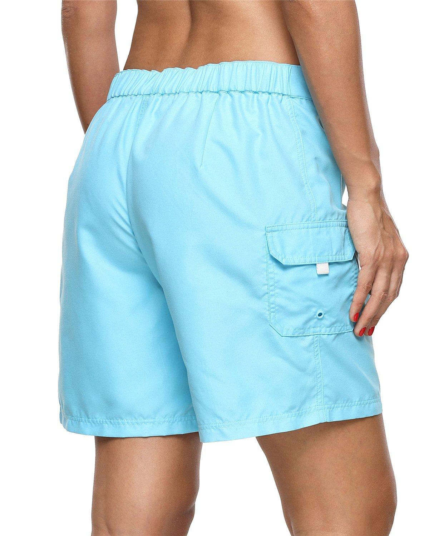 ALove Women's Loose Fit Swim Shorts Quick Drying Boardshorts Swimsuits Bottom Blue Medium by ALove (Image #6)