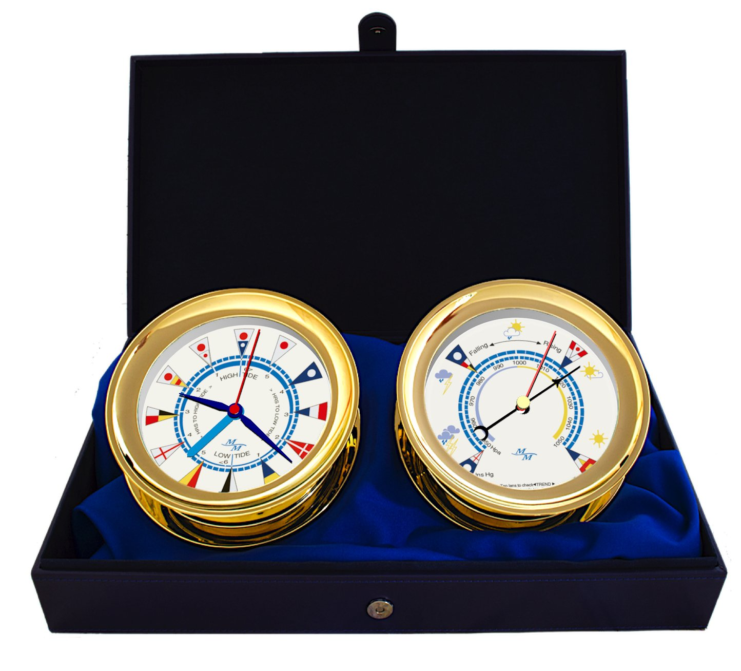 Master-Mariner Windlass Gift Set Time & Tide Clock & Barometer by, Gold finish, Ivory flag dial