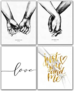 Yujohom Pinky Promise, Holding Hands Minimalist Abstract Line Drawing Art, Black and White Wall Art For Bedroom and Home Decor, Modern Boho Art Print Poster 8x10 Unframed Set of 4 Prints