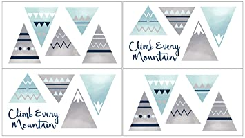 Aqua and Grey Aztec Wall Art Prints Room Decor for Baby and Kids for Mountains Collection Sweet Jojo Designs Navy Blue Dream Big Adventure Set of 4 Nursery