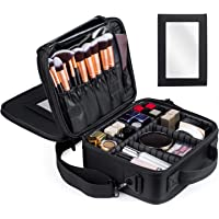 Kootek Travel Makeup Bag Double-Layer Portable Train Cosmetic Case Organizer with Mirror Shoulder Strap Adjustable Dividers for Cosmetics Makeup Brushes Toiletry Jewelry Digital Accessories