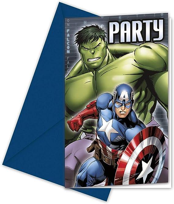 Pack 6 invitaciones fiesta Vengadores Avengers Marvel Assemble: Amazon.es: Juguetes y juegos