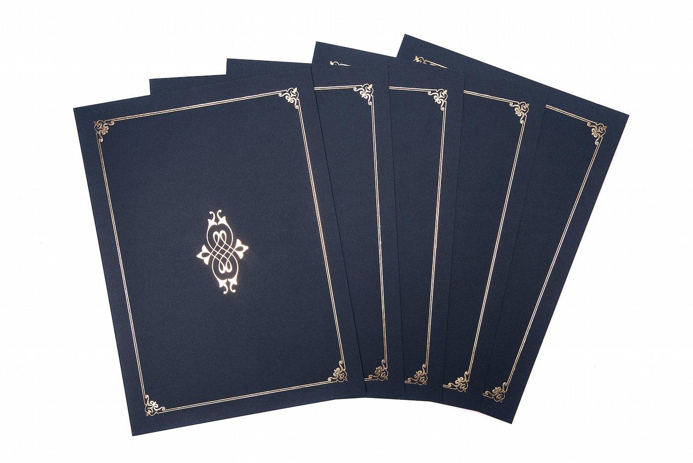 Linen Finish Heavyweight card/certificato cover/confezione da 5 Blue Graduation Attire