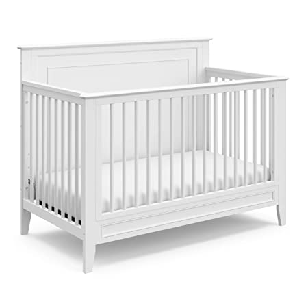 Storkcraft Solstice 4-in-1 Convertible Crib, White, Easily Converts to Toddler Bed, Day Bed, or Full Bed, Three Position Adjustable Height Mattress, Some Assembly Required Mattress Not Included