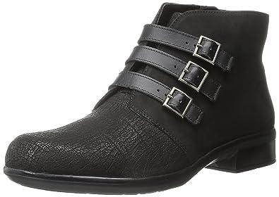 NAOT Women's Calima Boot, Black Crackle Leather/Black Velvet Nubuck/Black  Raven Leather