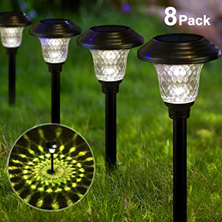 14 in. Set of 6 Garden Collection Textured Metal Solar-Powered Garden Lights