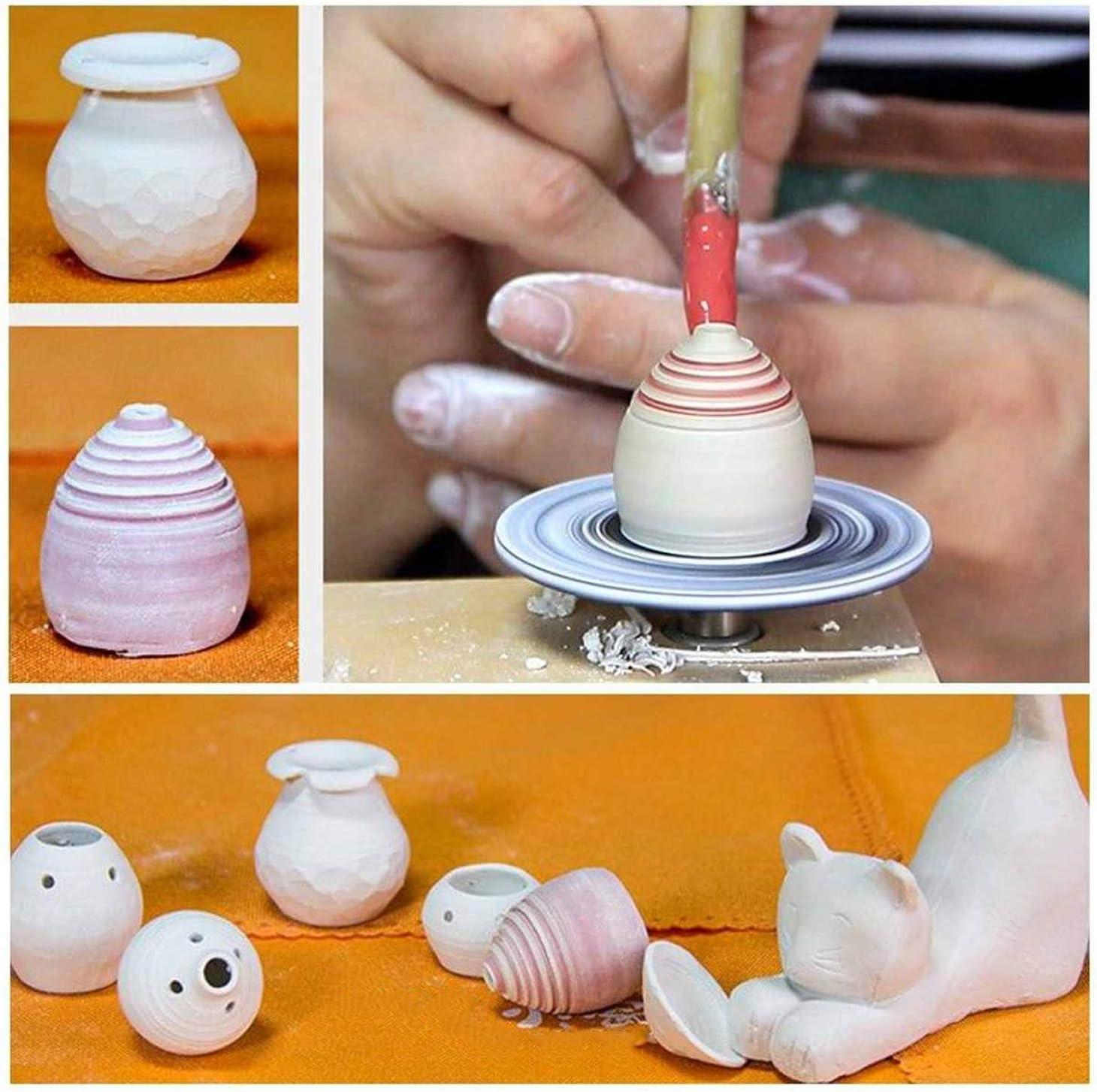 Zitainn Ceramic Machine,Mini USB Pottery Wheel Machine 4.5cm Turntable Handmade Clay Throwing Making Ceramic Machine for Ceramics Clay Art Craft DIY Clay