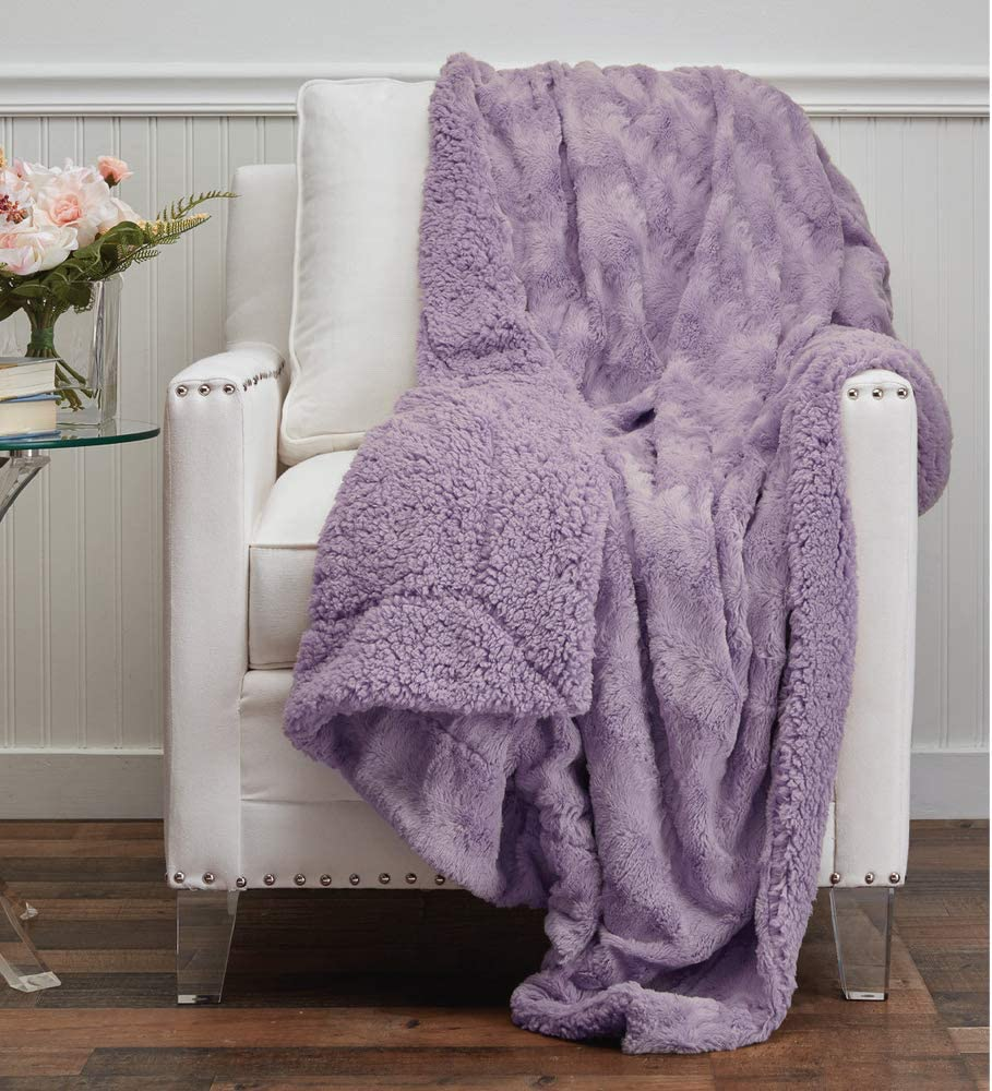The Connecticut Home Company Faux Fur with Sherpa Reversible Throw Blanket, Many Colors, Super Soft, Large Plush Luxury Blankets, Warm Hypoallergenic Washable Couch or Bed Throws, 70x60, Purple