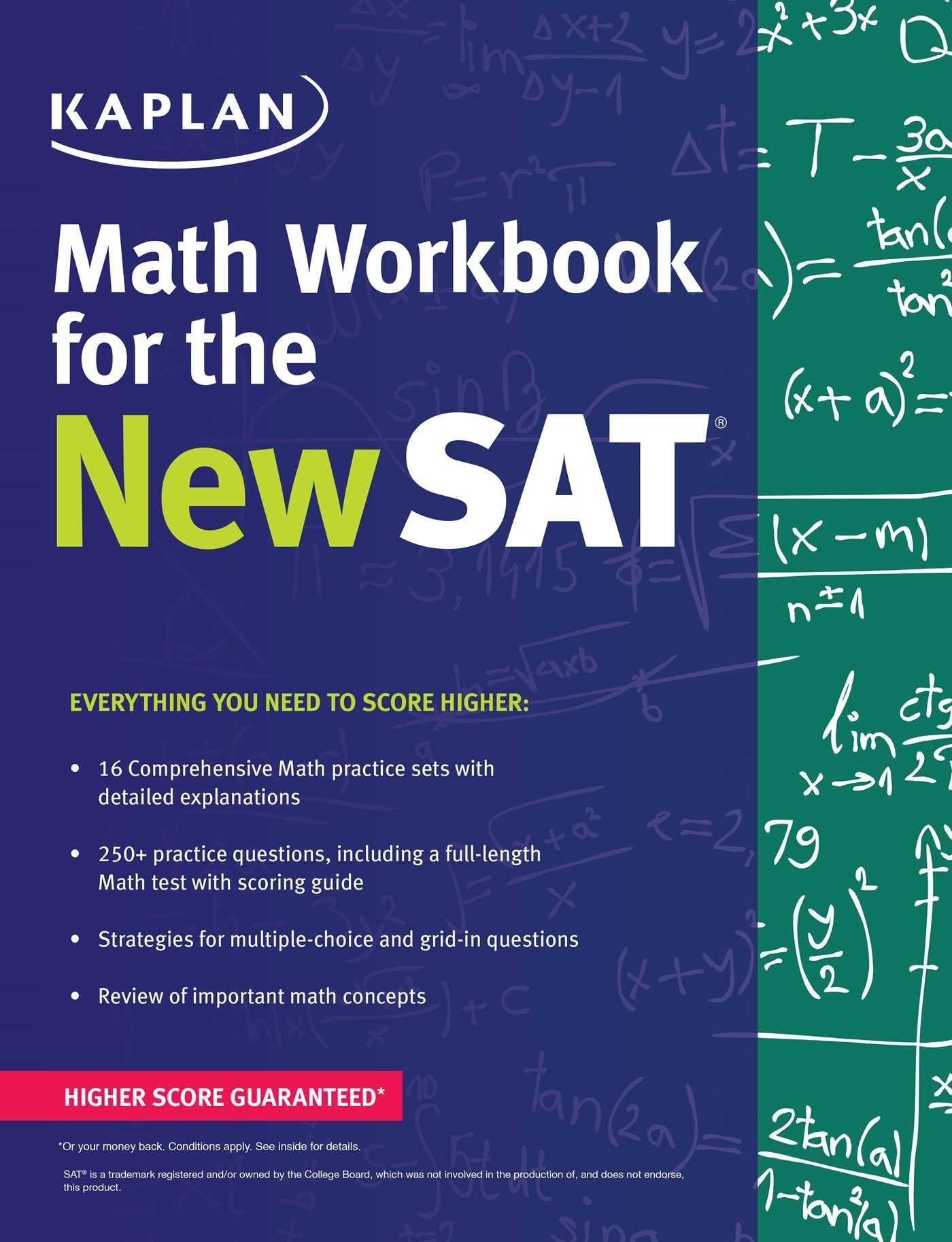 Worksheets Sat Math Prep Worksheets amazon com kaplan math workbook for the new sat test prep 9781625231550 books