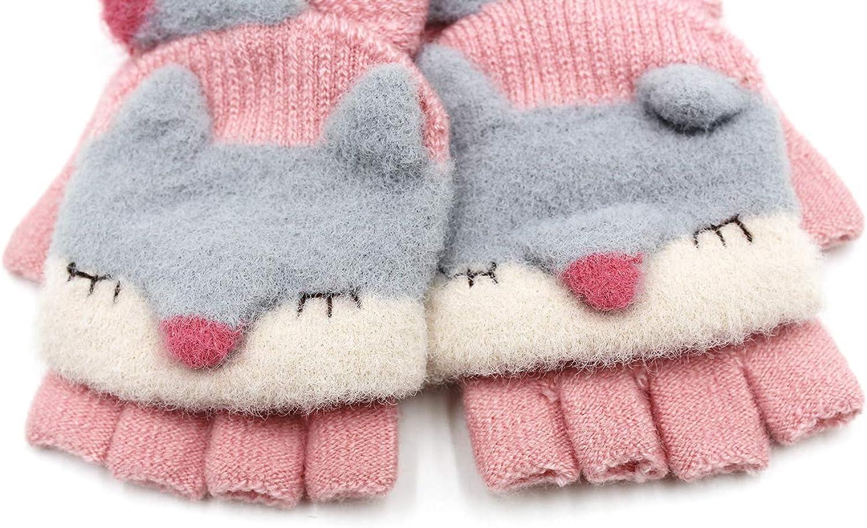 Cute Kids Gloves Baby Girls Boys Animal Fox Warm Convertible Flip Top Winter Gloves with Mitten Cover