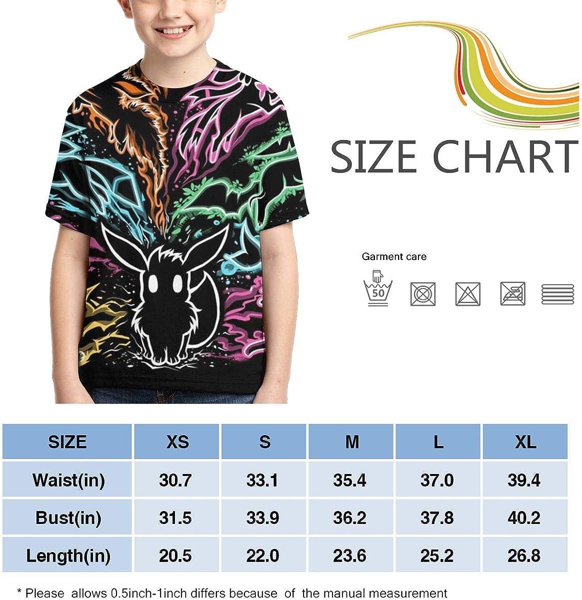 Hatstng /Î/•evee Evolution Boys Girls 3D Print Crew Tee Youth Short Sleeve T-Shirt Tanks Tops