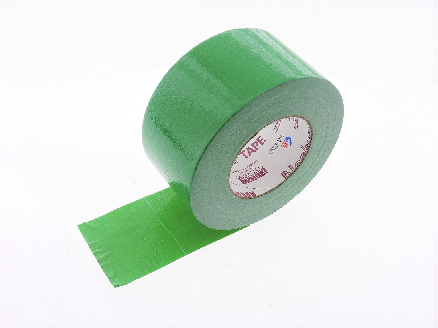 3'' in Green Duct Tape Nashua 2280 Heavy 9 mil Cloth Reinforced PE Back Duct Tape Water UV Resistant Hand Tearable 60yd USA Made 70 oz inch adhesion 20% elongation 24 lb in tensile strength
