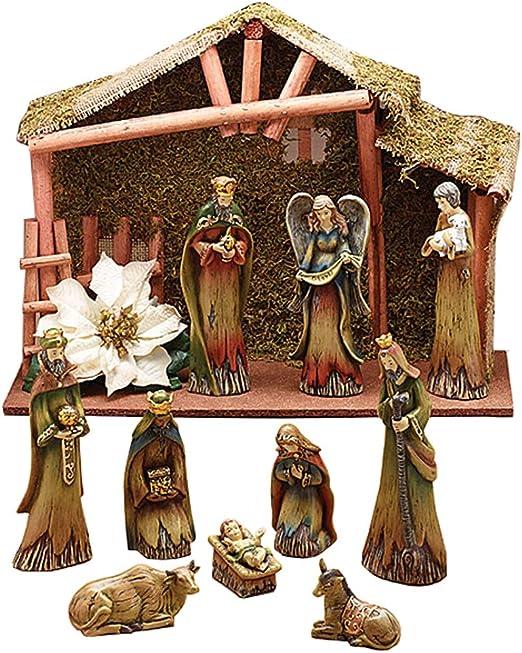 Burton /& Burton Woodland Moss Covered Creche Nativity Set