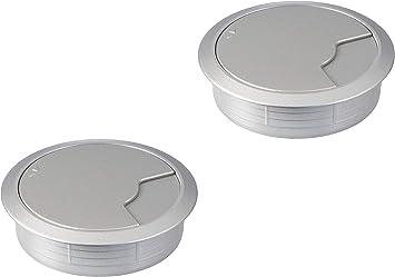 Gedotec Kabel Durchführung Silber Schreibtisch Kunststoff Desk Rund Kabeldurchlass Silber Weiß Aluminium Bohr Ø 60 Mm Tisch Kabelführung Zum Eindrücken 2 Stück Design Kabeldosen Für Möbel Baumarkt