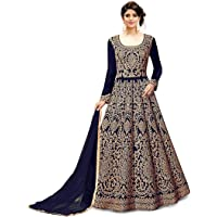 Fast Fashions Women's Embroidered Fentam Silk Semi Stitched Anarkali Gown (Blue_Free Size)
