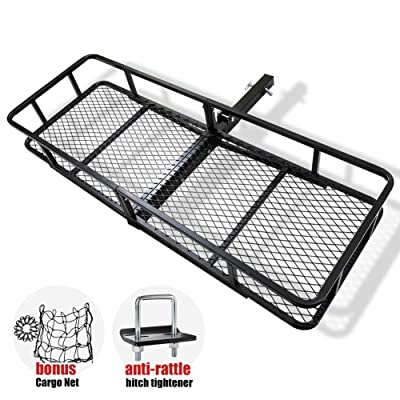 FieryRed Folding Cargo Carrier Luggage Basket - 500 lbs. Capacity Basket Trailer Hitch Cargo Carrier with Cargo Carrier Net & Hitch Stabilizer, Fits 2-Inch Receiver: Automotive