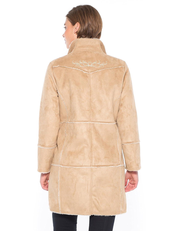 db3366d88a365 Balsamik - Veste brodée imitation mouton retourné - femme - Taille : 54 -  Couleur : Camel: Amazon.fr: Vêtements et accessoires