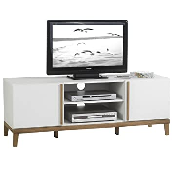 idimex tv rack lowboard hifi mobel fernsehtisch beistelltisch wohnzimmertisch riga 2 facher 2 turen