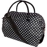 Womens Weekend Bag Ladies Large Overnight Maternity Holdall Travel Hand Luggage Bags SKEIR (Black polka dot))