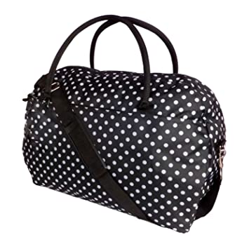 a94bf81423 Womens Weekend Bag Ladies Large Overnight Maternity Holdall Travel Hand Luggage  Bags SKEIR (Black polka