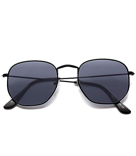 810fcf3cc2 WearMe Pro - Geometric Round Gold Frame Retro Sunglasses (Black Frame Black  Lens