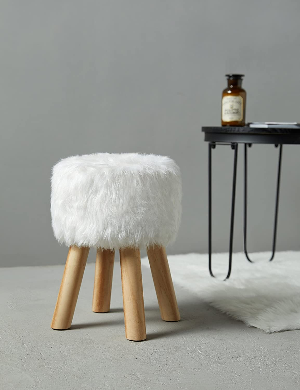 Suhu Tabouret Ottoman Fausse Fourrure Blanc Bois Moderne avec 4 Pieds 28 x 28 x 40cm
