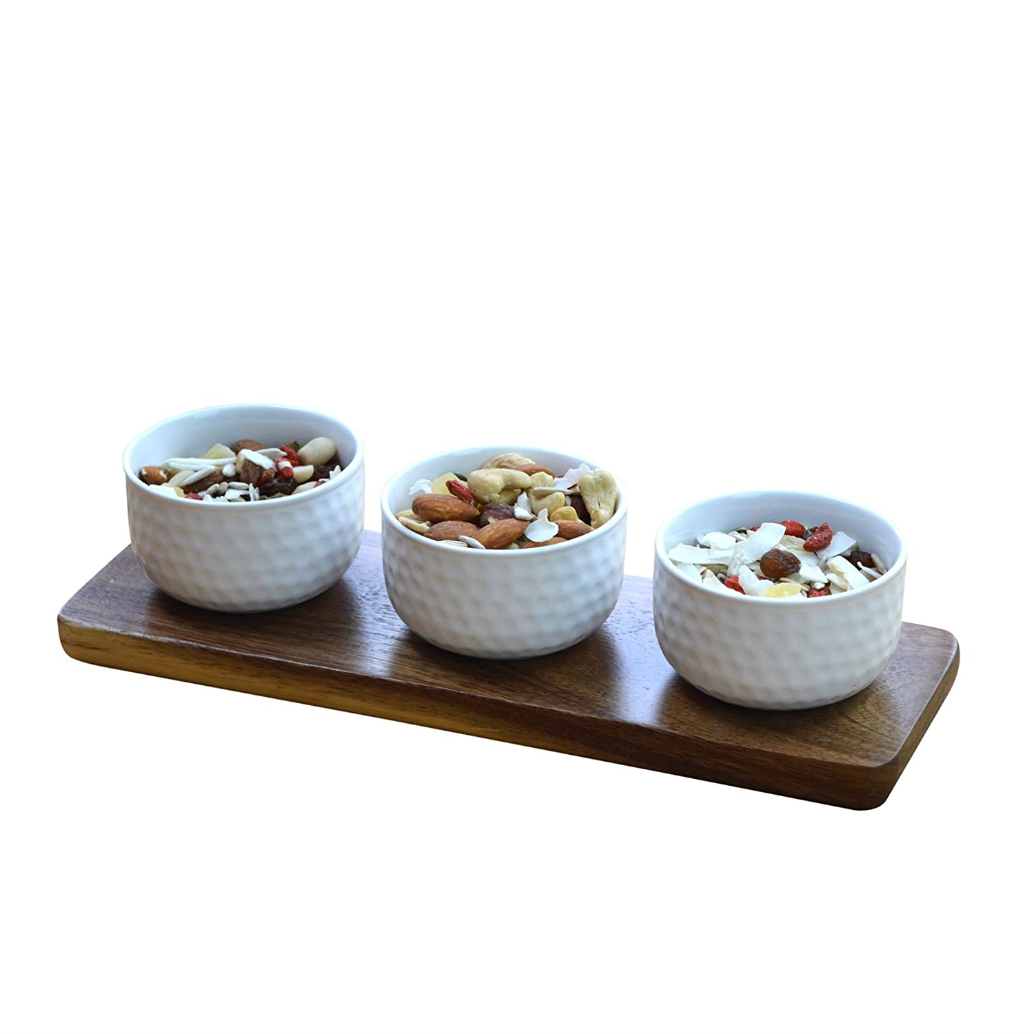 Argon Tableware Set Of 3 Dipping Snack/Tapas Serving Bowls On Wooden Serving Board - Dimple Design
