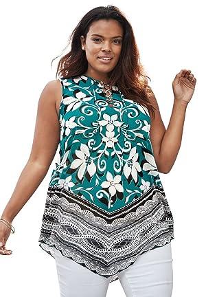 Women's Plus Size Scarf Print Tunic Leaf Print,12 W