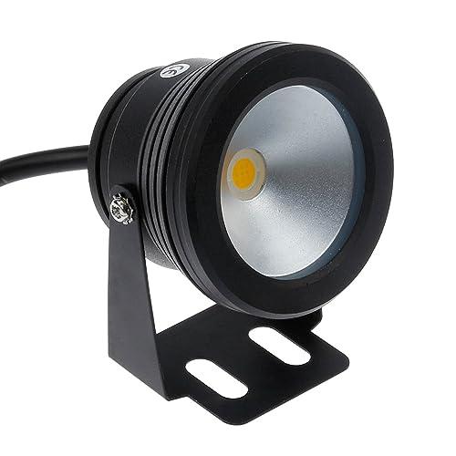 Lemonbest® 10w 12v Black LED Underwater Flood Light for Landscape Fountain Pond Pool, Warm White