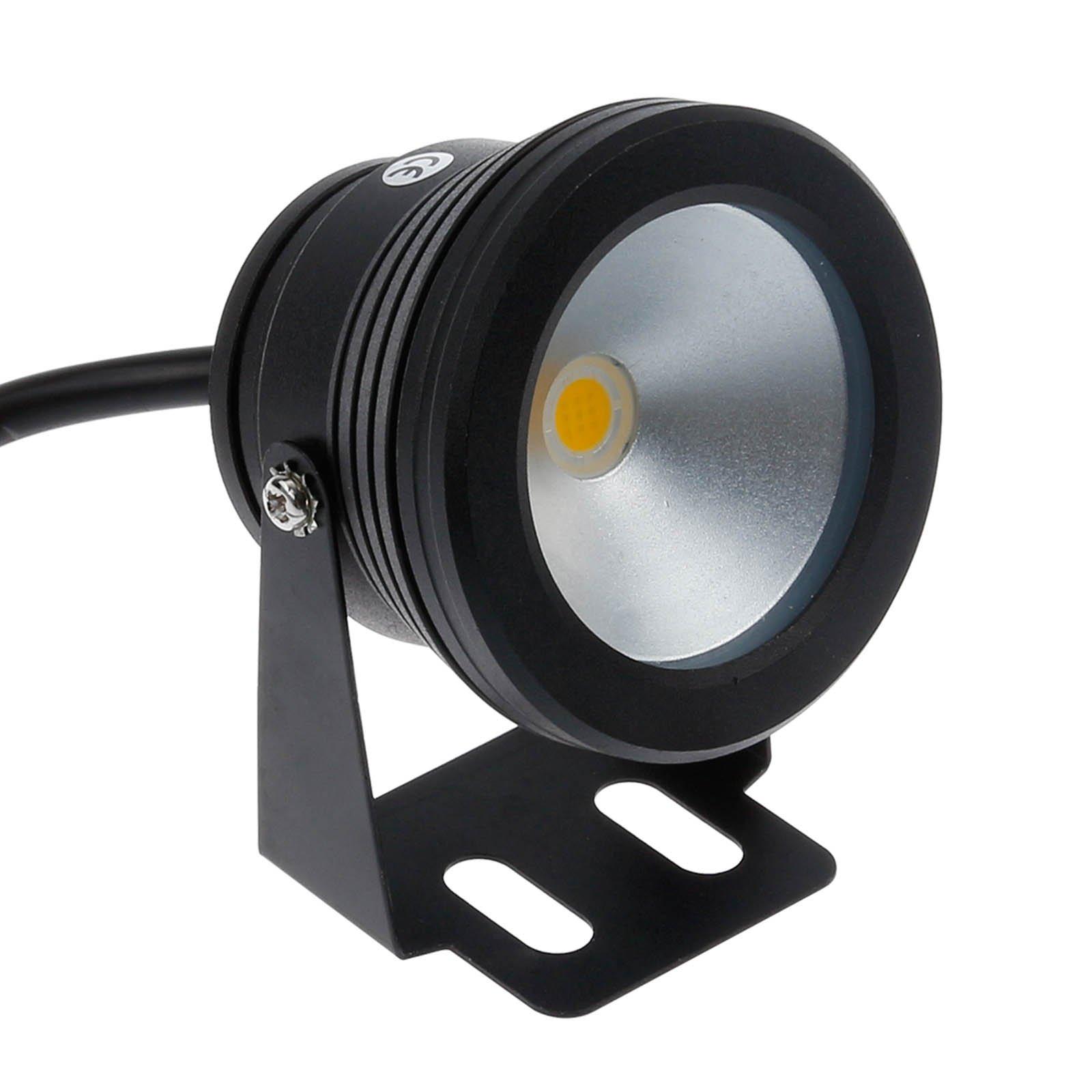 Lemonbest 10w 12v Black LED Underwater Flood Light for Landscape Fountain Pond Pool, Warm White