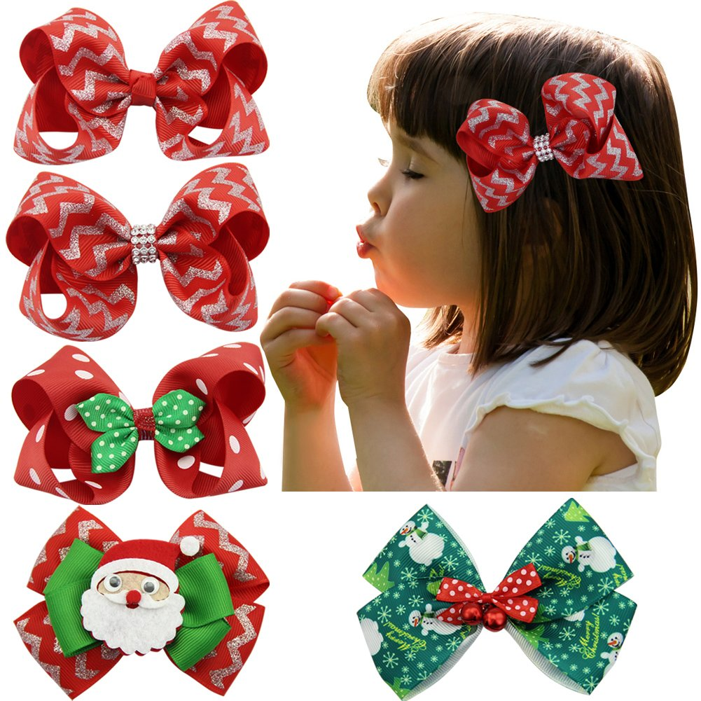 Nancyus005 Ribbon Christmas Hair Bows Clips Set Gifts With Alligator Clips OKZ195C@#WGJ