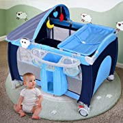 Costzon Baby Playard, 3 in 1 Multifunction Foldable Reversible Napper and Changer, Travel Infant Bassinet Bed with Music, Detachable Mat, Awning, Mosquito Net, Storage Bag (Blue)