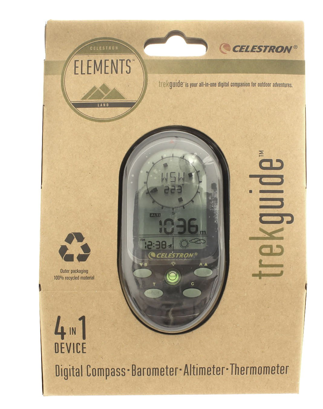 Barometer Altimeter and Thermometer with Lanyard and Wrist Strap Celestron Elements TrekGuide 4-in-1 Digital Compass