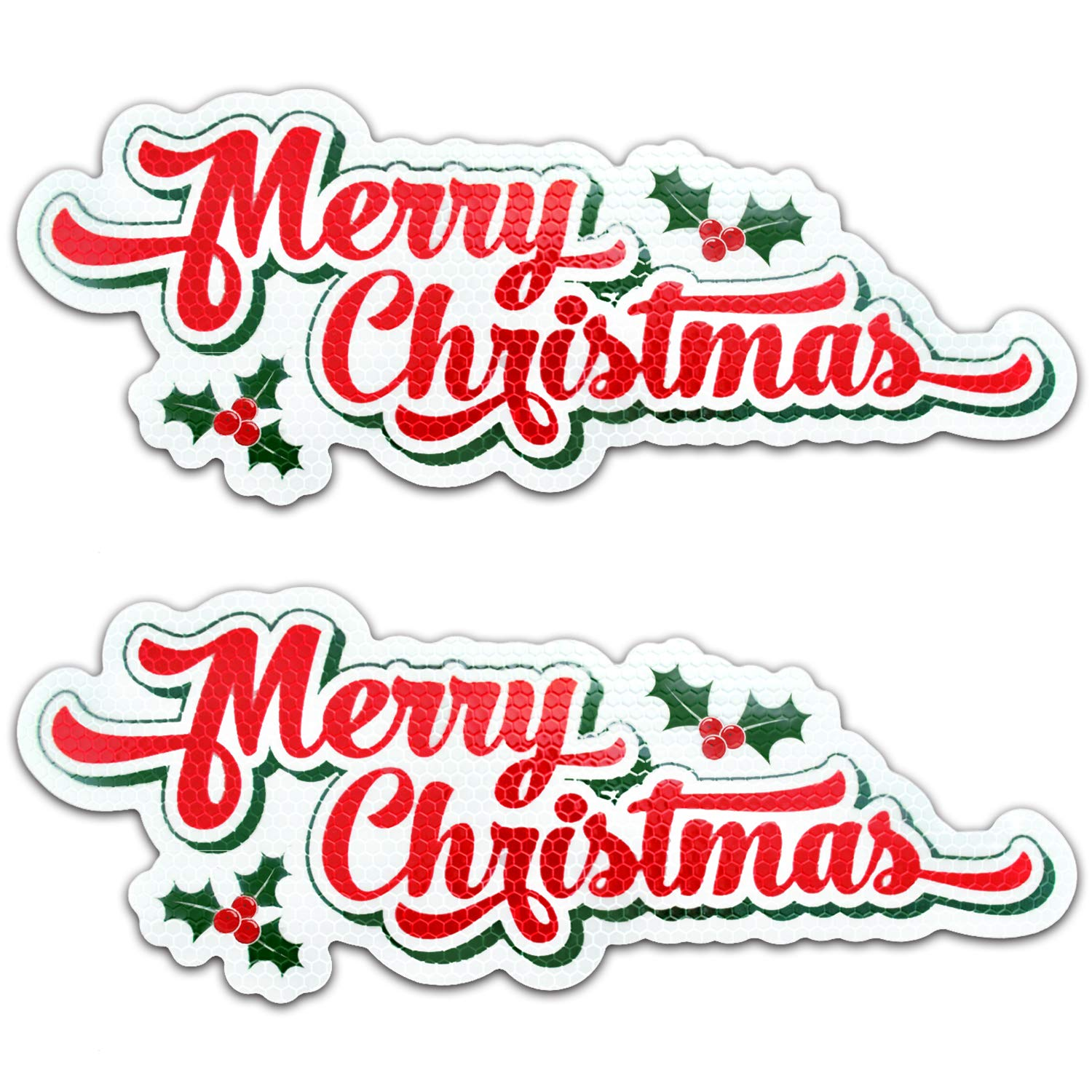 "Bigtime Signs Merry Christmas Reflective Holiday Car Magnet with Printed Holly | Automotive Holiday Decoration| for Fridge or Car | 2 - Pack | 4.25"" x 11"""